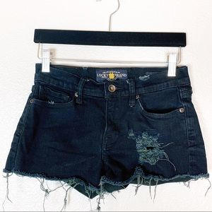 Lucky Brand | Sofia Boot Black Rip Jean Shorts